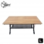 Outdoorbase 胡桃色木紋鋁合金蛋捲桌-L-25476 高度無段式調整